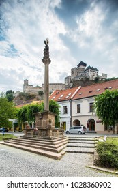 Trencin Castle. Slovakia. 02 AUGUST 2015. Trenciansky Hrad - Trencin Castle - on the hill in center of the city Trencin, view from old town square.