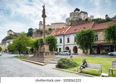 Trencin Castle. Slovakia. 02 AUGUST 2015. Trenciansky Hrad - Trencin Castle - on the hill in center of the city Trencin view from old town square.