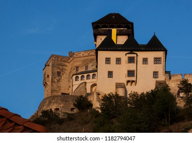 Trencin castle in Slovakia on a late afternoon