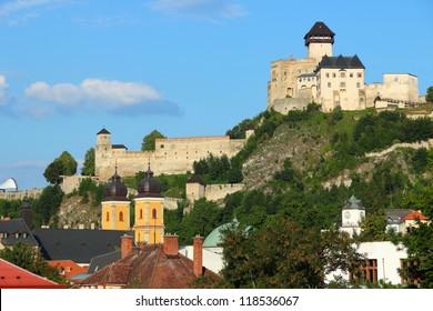 Trencin, city in Slovakia in Povazie region. Castle on a hill.