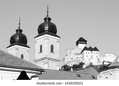 Trencin, Slovakia. Castle on a hill. Black and white retro style.