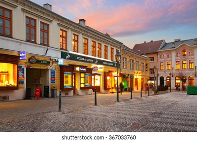 Trencin, Slovakia - January 20, 2016: Square in the old town of Trencin, Slovakia.