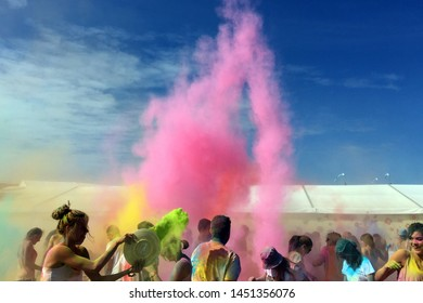 Trencin, Slovakia - July, 04, 2016: Colour party the music festival. Festival of Colours. People covered in coloured dust.