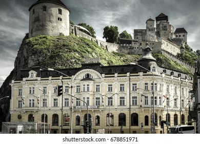TRENCIN, SLOVAKIA - MAY 13:  Castle in city Trencin on May 13, 2017 in Trencin