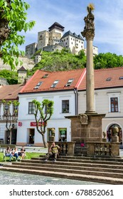 TRENCIN, SLOVAKIA - MAY 13:  Castle and plague column in city Trencin on May 13, 2017 in Trencin