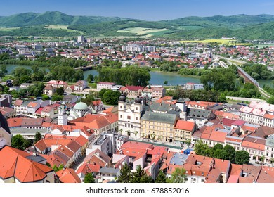 TRENCIN, SLOVAKIA - MAY 13:  View from Trencin castle on May 13, 2017 in Trencin