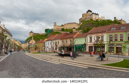 TRENCIN, SLOVAKIA - MAY 18, 2019: Panoramatic view of pedestrian zone in Trencin with Castle build in 13th century towering above the city.