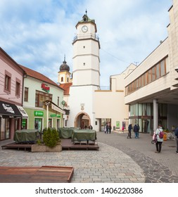 TRENCIN, SLOVAKIA - MAY 18, 2019: Lower Gate in Trencin - The City Tower. One of most the popular historical monuments in Trencin. Town tower with main square. Werstern Slovakia.