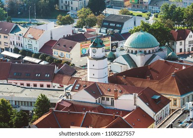 TRENCIN, SLOVAKIA - SEPTEMBER 15, 2016: Rooftops of Trencin old town. Sunny autumn day.