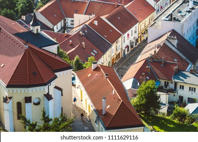 TRENCIN, SLOVAKIA - SEPTEMBER 15, 2016:  Sunny autumn day in old town of Trencin, Slovakia