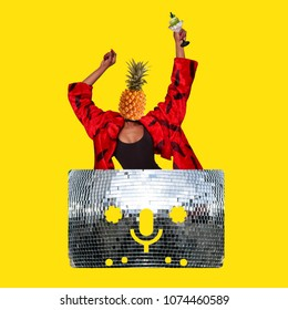 Trendy art collage, A woman with pineapple head holding a cocktail