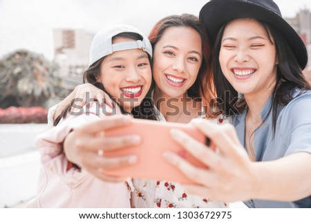 Trendy asian girls making