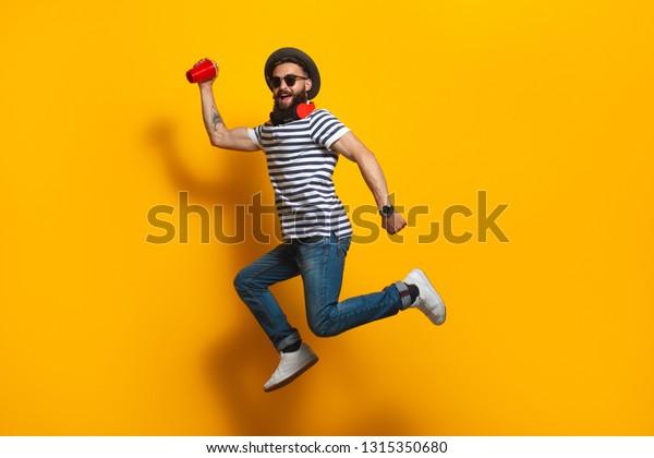 765410e18 Trendy Bearded Hipster Man Hat Sunglasses Stock Photo (Edit Now ...