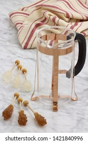 trendy and beautiful copper french press styled on carrara marble table