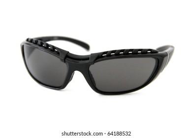 0cca8d2ad9 Trendy black sports sunglasses on white background