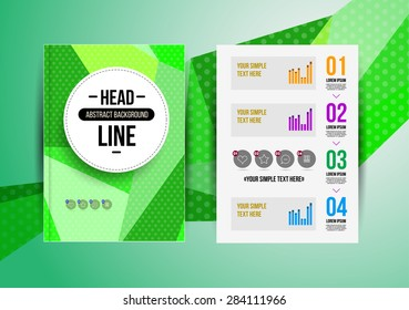 Trendy brochur template. Colorful design illustration for print magazine, flyer, presentation. with infographic and headline.