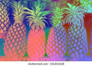 Trendy closeup of color pineapple on light background. Natural color. Organic food. Fresh pineapple. Use like texture and background.