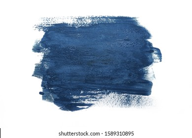 Trendy Color of the year 2020 classic blue. Sample of classic blue paint on white isolated background.Texture of blue paint. Fashionable classic blue  color of spring-summer 2020 season.