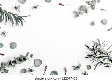 Trendy design with eucalyptus pattern on white background top view mock up