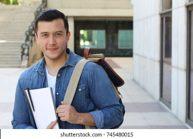 Trendy ethnic student heading to the university with copy space
