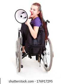 trendy girl with megaphone on the wheelchair, white background