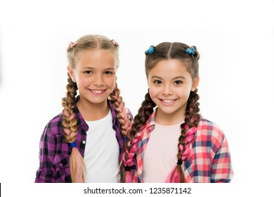 Trendy girls. Sisters family look outfit. Dress similar with best friend. Dress to match your friend. Best friend dressing. Friends wear similar outfits have same hairstyle braids white background.