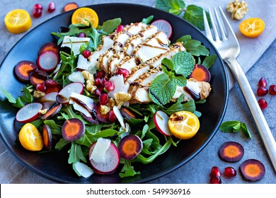 trendy and healthy serving of colorful salad with plenty of extras.
