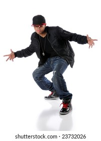 Trendy hip hop man performing a dance