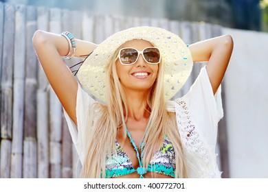 Trendy hipster girl outdoor summer portrait