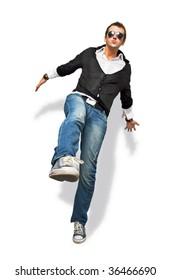 trendy man jumping