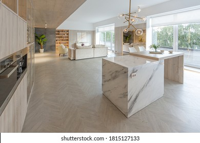 trendy modern interior design of a large studio in white and beige colors with large floor-to-ceiling windows. area of white kitchen with an island and a recreation area