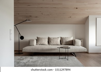 Trendy modern interior with a sloping wooden ceiling and white walls and a parquet with a carpet on the floor. There is a sofa with pillows, metal black table with a book, dark floor lamp. Horizontal.