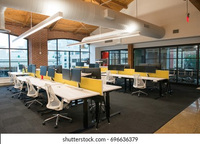 Trendy Modern Open Concept Loft Office Space With Big Windows, Natural  Light And A Layout