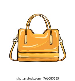 Trendy orange women bag with three handlers of different length isolated on background. Fashionable accessory for elegant and casual outfits.  illustration of spacious handbag.