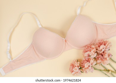 Trendy pink modern lady bra and silk panty, perfume. Fashionable cotton lingerie, woman underwear. Lace panties and bra on beige background. Gift ideas, shopping and fashion concept.