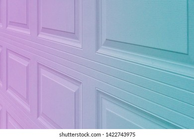 Trendy purple blueish holographic gradient garage door paneling. Colorful background with linear lines & square / rectangular panels that show close up perspective. Holo 90 / 80 style squared shapes