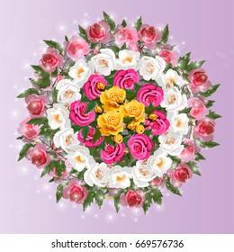 Trendy realistic  illustration of rose bush or bouquet of roses. Spring or summer design, original floral template of invitation
