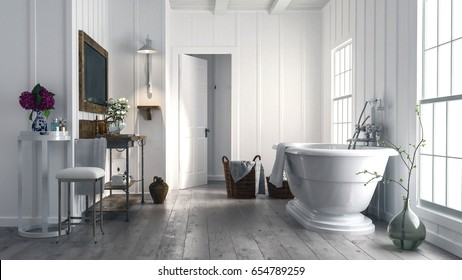 Trendy rustic bathroom with stylish boat-shaped freestanding bathtub in front of two bright windows and old wood floors with flowers on small tables. 3d rendering