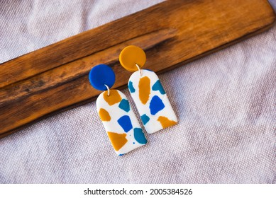 Trendy summer jewelry with spots. Unique handmade earrings.