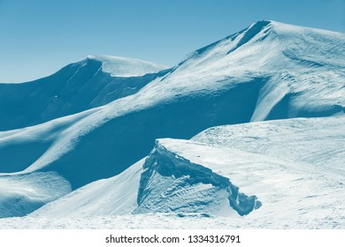 Trendy toned mountain landscape winter season sunny day