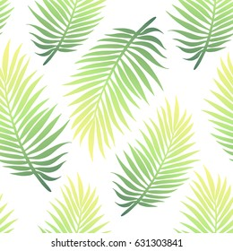 Trendy tropical natural seamless background with lush colofrul banana palm leaves