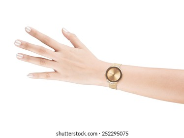 trendy wrist watch on woman hand isolated on white background.