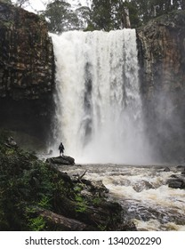 Trentham falls after heavy rain, with a person standing in front of the very heavy waterfall in the beautiful country town of Trentham, Victoria, Australia.