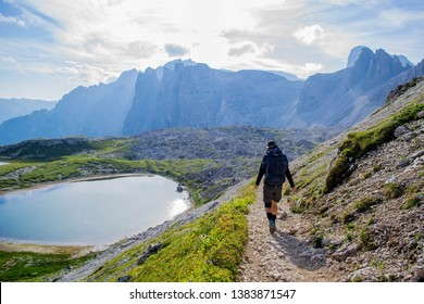 Trentino Alto Adige - 08/04/2018: Hiking in the spectacular Dolomites