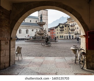 Trento city, Italy, photographed 01/17/2018. View of the Piazza Duomo and the Baroque Neptune Fountain (Fontana di Nettuno)