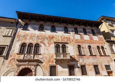 Trento downtown, Palazzo Quetta Alberti Colico, medieval palace with many frescoes. Trentino Alto Adige, Italy, Europe