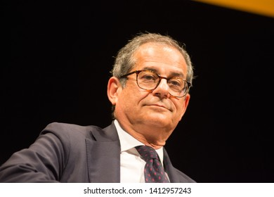 Trento, Italy - 05 30 2019; Festival dell' Economia - Trento; Giovanni Tria Italian Minister of Economy and Finance attend during Festival dell' Economia