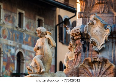 Trento, Italy. Close view of fountain of Neptune in Trento, Italy