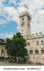 TRENTO, ITALY - JULY 11, 2016: View of a cathedral square in old town of Trento. Trento is a capital of province Trentino Alto in Italy.