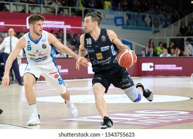 Trento, Italy, October 26 2019 toto forray (10) dolomiti energia trentino - manuel saladini (6) de longhi treviso during Dolomiti Energia Basket Trentino vs De Longhi Treviso Basket Italian Basketbal